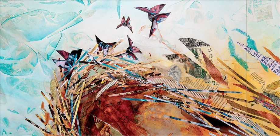 Leaving the Nest [detail] (McConnell Arts Center) on Mixed Media Painting